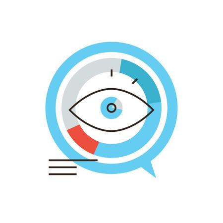 Dunne lijn icoon met platte design element van data visualisatie, infographic markt, visueel diagram, business grafiek, grafiek bedrijf. Moderne stijl pictogram vector illustratie concept.