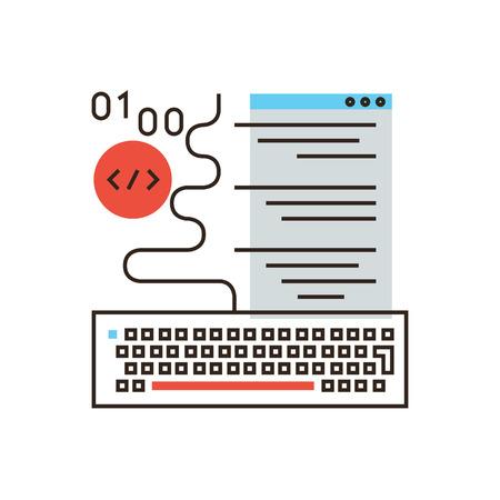Thin line icon with flat design element of web programming, software development, program code, decoding application, website creation, machine language. Modern style icon vector illustration concept. Ilustração