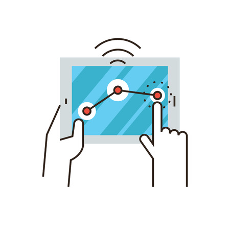 wireless connection: Thin line icon with flat design element of wifi connection, operating system, wireless control on digital tablet, internet connection, network signal. Modern style icon vector illustration concept. Illustration