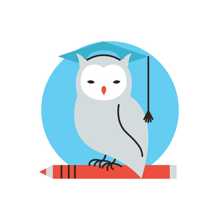 graduate student: Thin line icon with flat design element of wise owl, university studies, student learning, symbol study, process of education, learn wisdom. Modern style icon vector illustration concept. Illustration