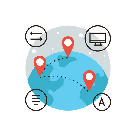 Icono de la línea delgada con elemento plano de diseño de conexión global, conecte mundo, la cesión global de la información, los viajes alrededor del mundo, la globalización de mapeo. Logotipo del estilo de ilustración vectorial moderno concepto. Logos