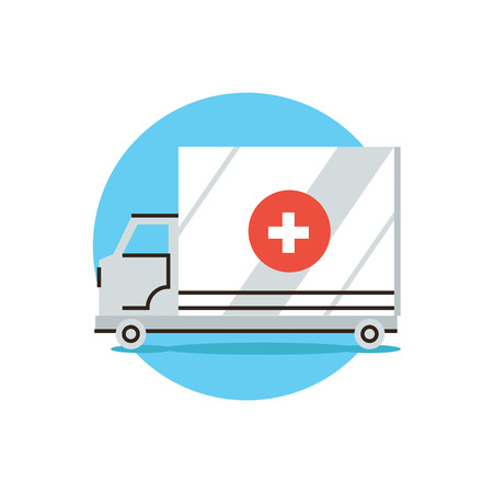 urgency: Thin line icon with flat design element of ambulance car, first aid assistant, medical hospital, transport van, emergency help. Modern style logo vector illustration concept.