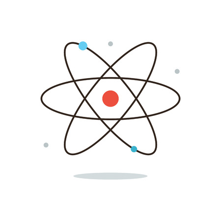 Thin line icon with flat design element of nuclear power, atomic energy, model of atom, scientific research, smallest particle, molecular structure. Modern style logo vector illustration concept.