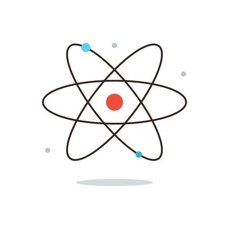struktur: Tunn linje ikon med platt design element av kärnkraft, atomenergi, modell atom, vetenskaplig forskning, minsta partikel, molekylstruktur. Modern stil logotyp vektor illustration koncept. Illustration