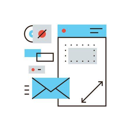 Thin line icon with flat design element of design brandbook, branding identity, company brand, corporate document, business identification.