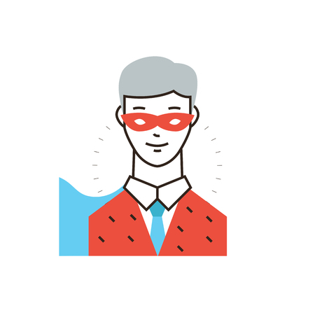 super man: Thin line icon with flat design element of businessman superhero, super man in mask