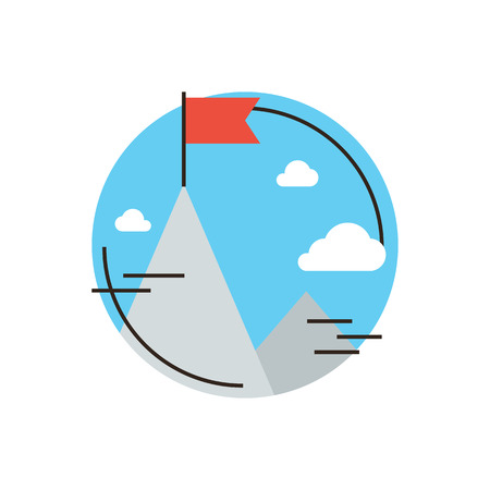 challenge: Thin line icon with flat design element of success business goal, flag at mountain peak top, challenge achievement, successful leadership of mission.