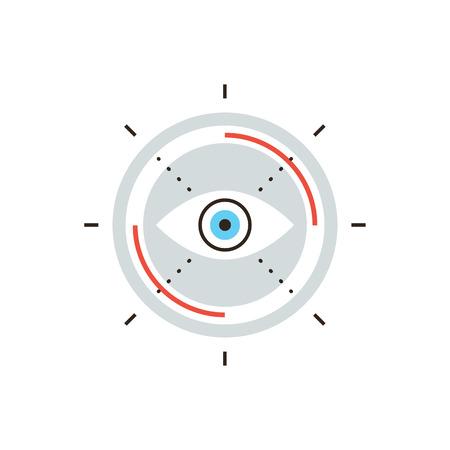 sehkraft: D�nne Linie Symbol mit Flachgestaltungselement der Business-Vision, Suchmissionsziel, innovativen Look auf zuk�nftige, abstrakte Sehkraft Aussicht.