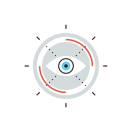 vision futuro: Icono de la línea delgada con elemento plano de diseño de la visión de negocio, búsqueda de objetivos misión, mirada innovadora para el futuro, vista la visión abstracta.