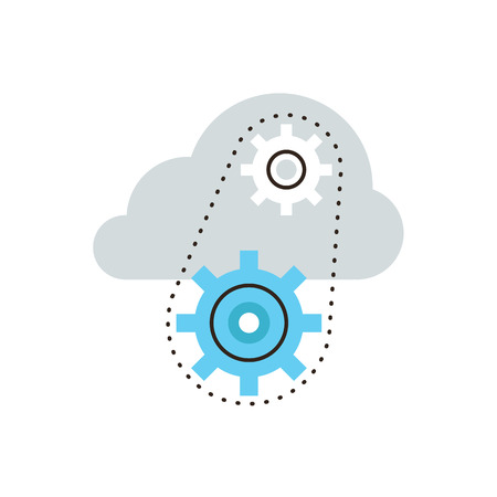 Thin line icon with flat design element of network technology, cloud computing, technical server, operating mechanism, working systems.