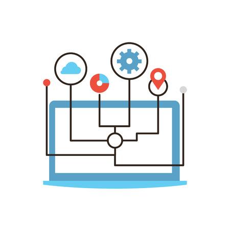 gestion: Icono de línea delgada con elemento plano de diseño de las redes de computadoras, el cloud computing, la conectividad global, negocio del Internet, flujo de trabajo remoto.