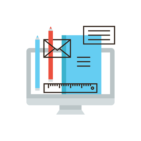 computer graphic design: Thin line icon with flat design element of workflow management, designer equipment, office management, computer graphic design, working tools. Illustration