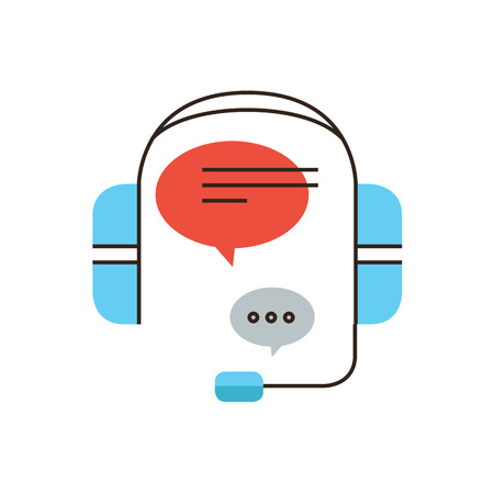 answer phone: Thin line icon with flat design element of customer service, live chat support, telephone operator, phone call assistance, answer to request.