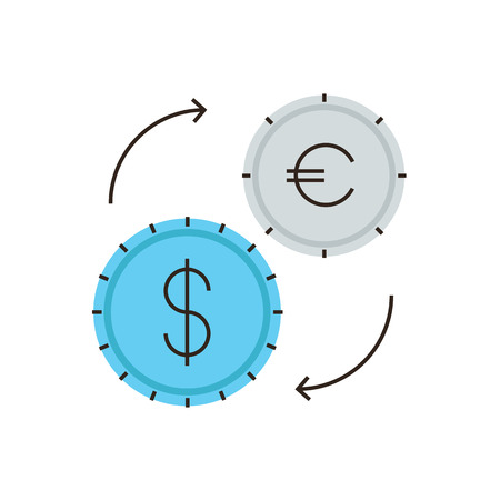 circulation: Thin line icon with flat design element of currency exchange, financial management, dollar and euro exchanging course, circulation of money. Illustration