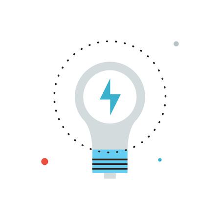 Thin line icon with flat design element of energy savings, efficiency of electricity, electric lamp, energy-saving technologies, save power lightbulb.  Vector