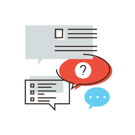 testimonial: Thin line icon with flat design element of frequently asked questions, support service representative, FAQ information to help clients, speech bubbles.