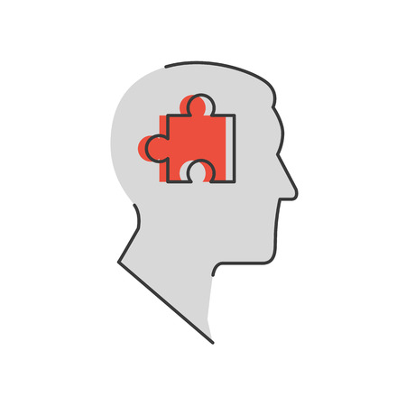 intuition: Thin line icon with flat design element of success solution, intelligence person, human brain, collect puzzle, idea in head, strategy decision.  Illustration