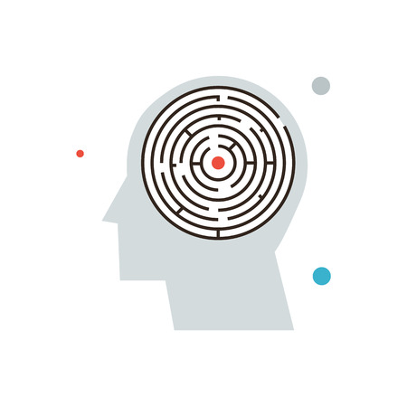 Thin line icon with flat design element of confusion in mind, maze in brain, searching solution, thinking problem, personal labyrinth.  Illustration
