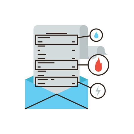 payday: Thin line icon with flat design element of bill mail notification, insurance police protection, check payment of taxes, utility payday document received.  Illustration