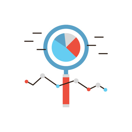 Thin line icon with flat design element of market analysis, business infographics, statistics data, magnifying lens, financial analytics.
