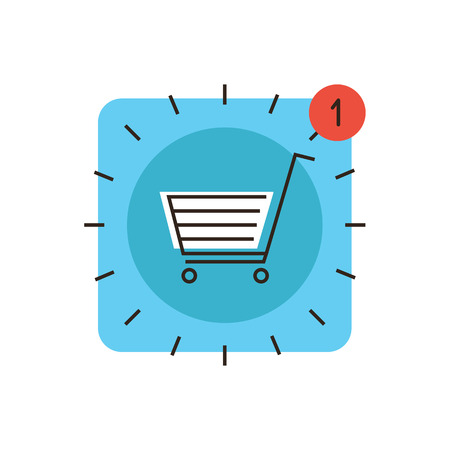 Thin line icon with flat design element of app store market, internet shopping cart, retail sales, web checkout for payment, new application purchase now.