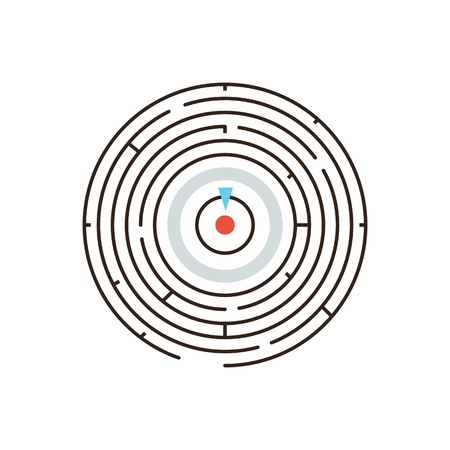 Thin line icon with flat design element of achieving goal, circular labyrinth, complex challenge, exit from maze, problem solving, business puzzle. Vector