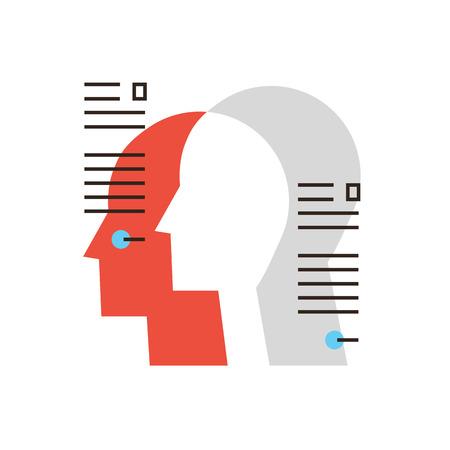 profil: Cienka linia z płaską ikona projektowania elementów danych osobowych, People, pracowników zespołu, pracownika, organizacji zarządzania zasobami ludzkimi. Ilustracja