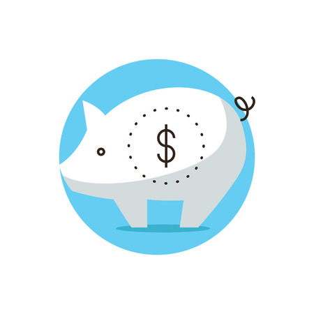 Thin line icon with flat design element of piggy bank, financial economics, capital accumulation, personal money save, budget savings.