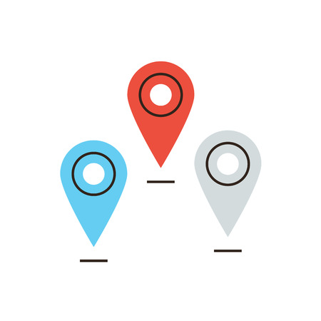 positioning: Thin line icon with flat design element of global navigation, positioning location, set of pins, mapping points on map, mark place sign.  Illustration