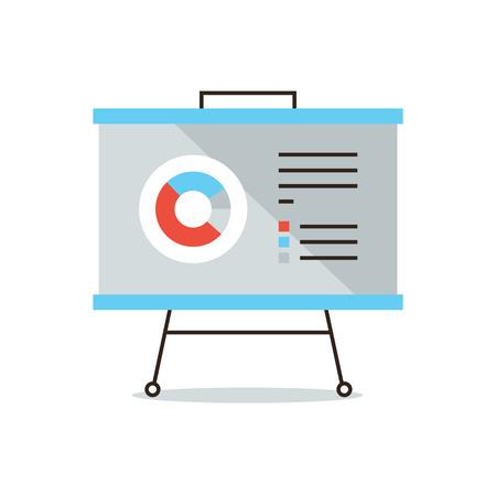 Icono de la línea delgada con elemento plano de diseño de presentación infográfica, estadísticas de mercado, informes anuales, negocio gráfico, análisis de datos. Foto de archivo - 38398726