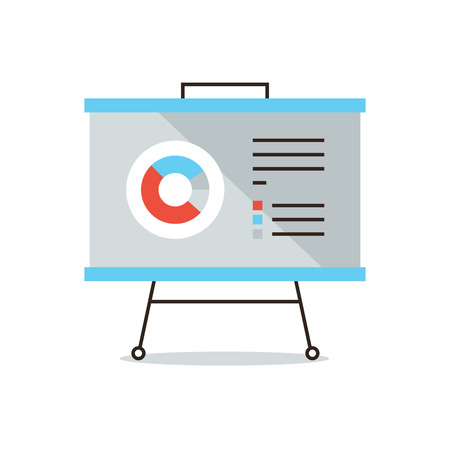 the reporting: Thin line icon with flat design element of presentation infographic, market statistics, annual reporting, business chart, data analysis.