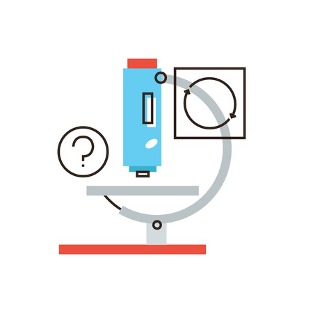 Thin line icon with flat design element of scientific analysis, medical microscope, lab test, laboratory instrument, research molecular level.  Vector