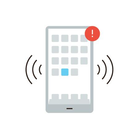 alerta: Icono de la línea delgada con elemento plano de diseño de la comunicación móvil, aplicaciones de teléfonos inteligentes, la notificación de alertas, la señal de alarma, mensaje telefónico.