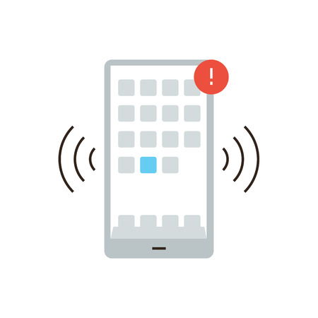 Thin line icon with flat design element of mobile communication, smartphone apps, alert notification, alarm signal, phone message.