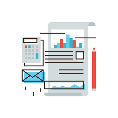 Thin line icon with flat design element of stock market data, calculation of tax due, statistics analyze, business accounting, report on office documents.