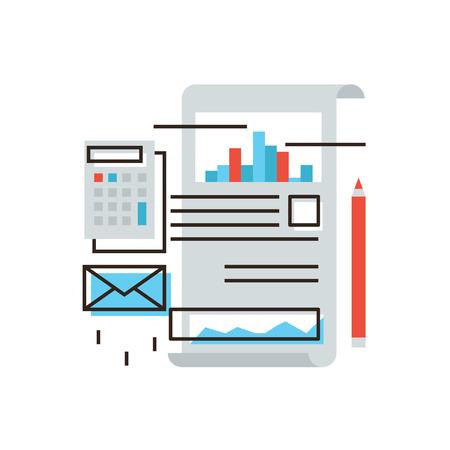 Thin icône de la ligne avec des plats élément de conception des données du marché boursier, le calcul de la taxe due, les statistiques analysent, comptabilité d'entreprise, rapport sur des documents de bureau.
