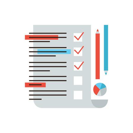 Thin icône de la ligne avec des plats élément de conception de la recherche marketing, la rétroaction de service à la clientèle, les statistiques sous forme de contrôle, d'analyse de liste de contrôle, le marché de l'enquête.