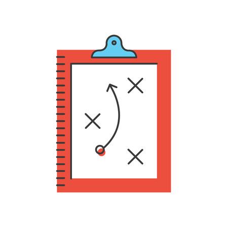 Icono de línea delgada con elemento de diseño plano del plan táctico, las tácticas de juego, planificación de la estrategia deportiva, el esquema de ataque, tablero con hojas de papel. Ilustración de vector