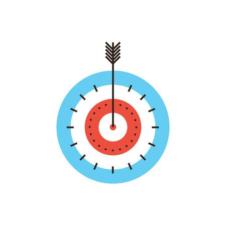Icono de la línea delgada con elemento plano de diseño de éxito focalización, golpe blanco directo, tiro acertado, máximo resultado, mercado meta, puntuación más alta, juego de dardos. Vectores