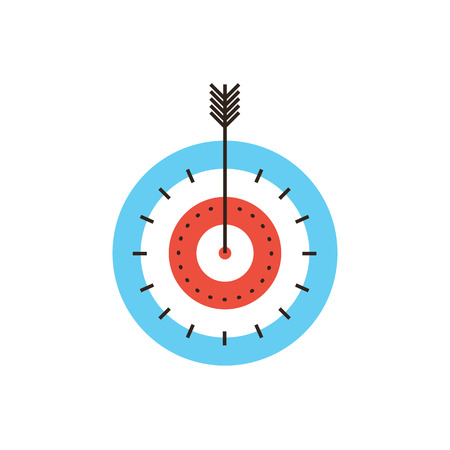 advantages: Thin line icon with flat design element of success targeting, direct target hit, successful shot, maximum result, market goal, top score, game of darts.
