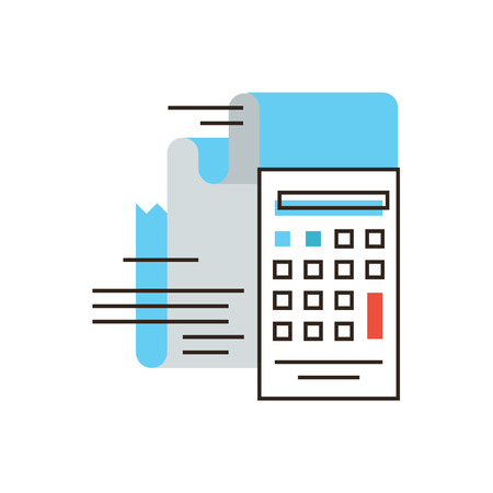 Thin line icon with flat design element of calculation tax, financial income, capital accumulation, paper receipt, payment on account, business market.  Illustration