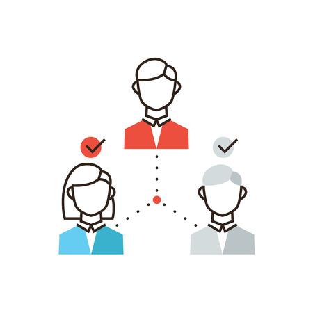 요약보고: 팀워크 조직의 평면 디자인 요소, 사업 사람들의 그룹, 기업 경영과 얇은 라인 아이콘 일러스트
