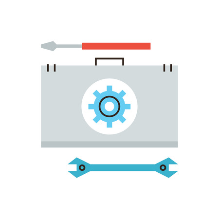 toolbox: Thin line icon with flat design element of help with hardware problem, repair service, emergency maintenance, technical support, diagnostics toolbox.  Illustration