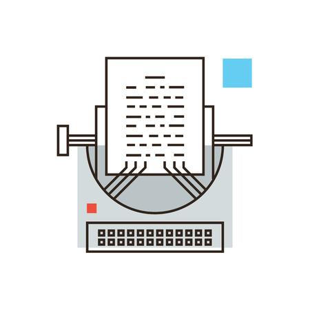 the typewriter: Icono de la l�nea delgada con elemento plano de dise�o de la edici�n period�stica, escribiendo historia, el periodismo multimedia, PR negro, el blog de impresi�n, la m�quina de escribir retro vintage.