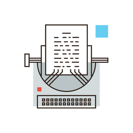 pr: Thin line icon with flat design element of journalistic publishing, writing story, media journalism, black PR, print blog, retro vintage typewriter.