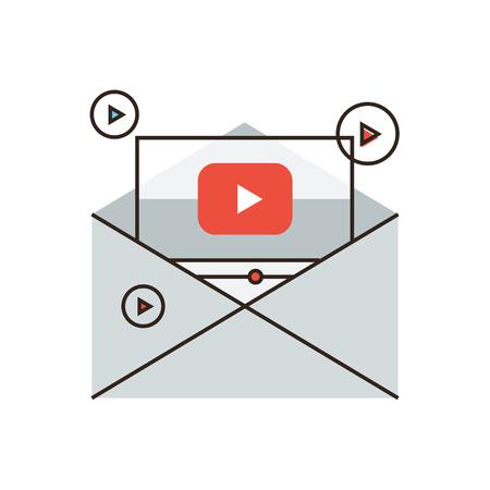Dunne lijn pictogram met platte design element van virale nieuwsbrief, het delen van spam, media marketing, video mail, verspreiding van informatie, zakelijke promotie.