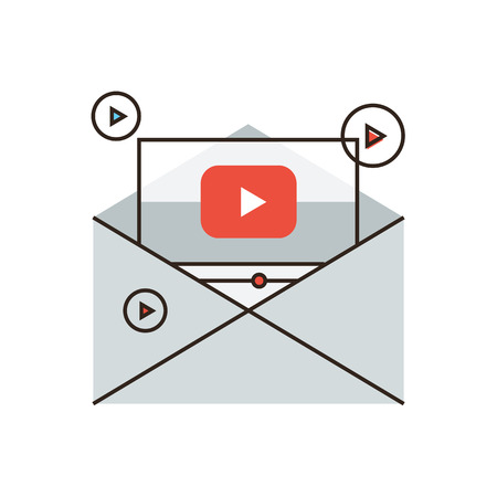 sharing information: Thin line icon with flat design element of viral newsletter, sharing spam, media marketing, video mail, information dissemination, business promotion.