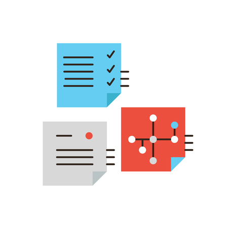 plan do check act: Thin line icon with flat design element of PDCA workflow planning, work flow check process, business notes, successful office schedule management.