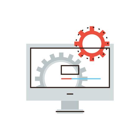 Dunne lijn icoon met platte design element van werkende computer, installeren van nieuwe software, besturingssysteem, bijwerken ondersteuning, mechanisme werkt.