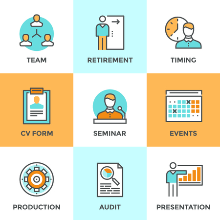 business event: Line icons set with flat design elements of business people management, company growth presentation, seminar training, human resources and retirement. Modern vector logo pictogram collection concept.